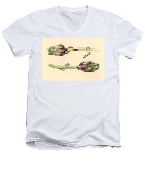 Artichokes Men's V-Neck T-Shirt by Alison Cooper