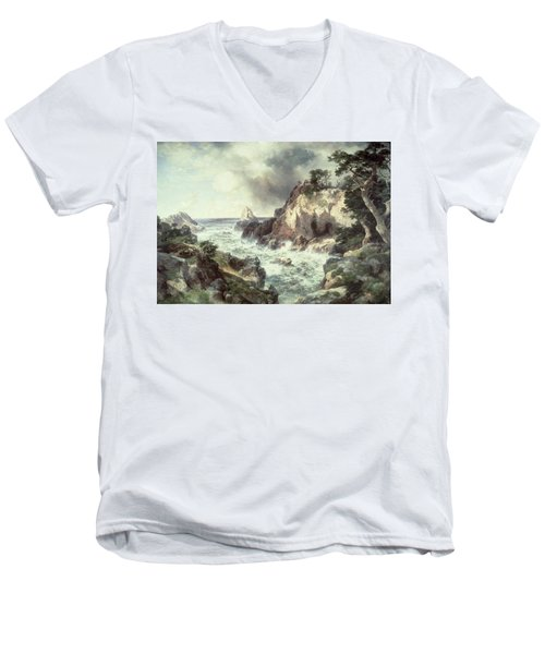 Point Lobos At Monterey In California Men's V-Neck T-Shirt by Thomas Moran