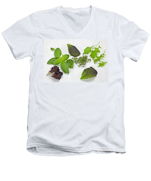 Salad Greens And Spices Men's V-Neck T-Shirt by Joana Kruse