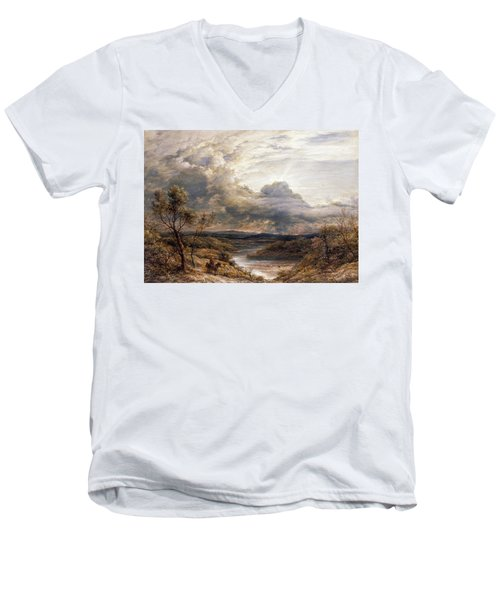 Sun Behind Clouds Men's V-Neck T-Shirt by John Linnell