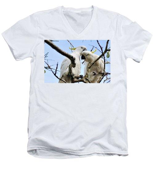 White Cockatoos Men's V-Neck T-Shirt by Kaye Menner
