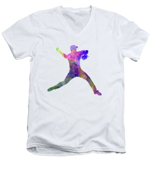Baseball Player Throwing A Ball Men's V-Neck T-Shirt by Pablo Romero
