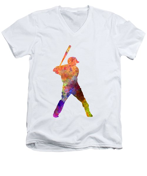 Baseball Player Waiting For A Ball Men's V-Neck T-Shirt by Pablo Romero