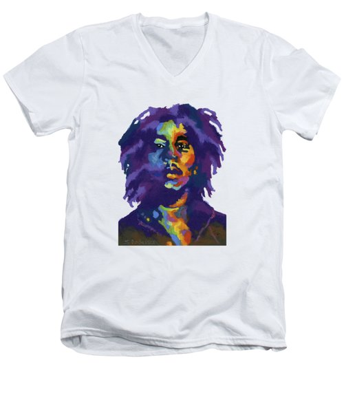 Bob Marley-for T-shirt Men's V-Neck T-Shirt by Stephen Anderson