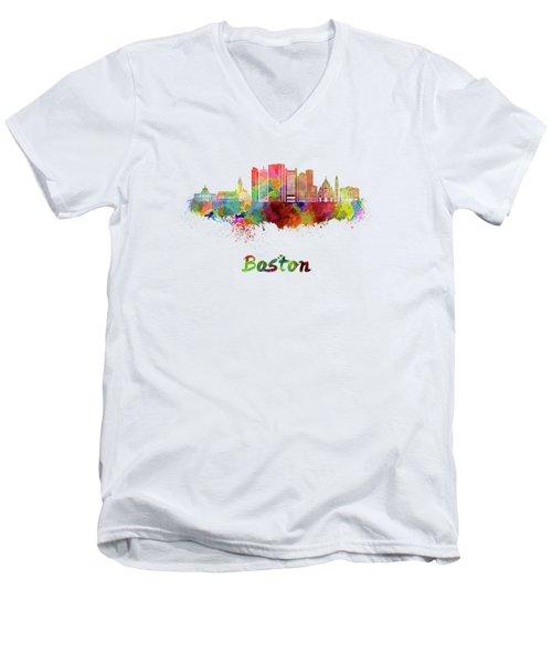 Boston Skyline In Watercolor Men's V-Neck T-Shirt by Pablo Romero