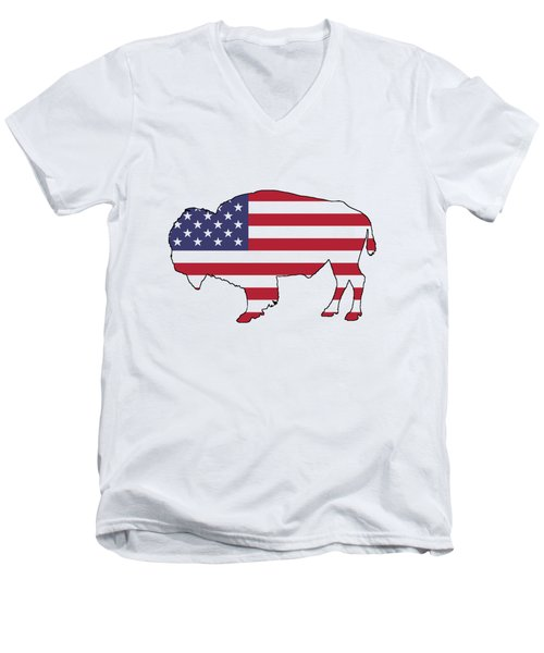Buffalo Men's V-Neck T-Shirt by Mordax Furittus