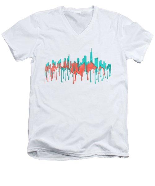 Chicago Illinios Skyline Men's V-Neck T-Shirt by Marlene Watson