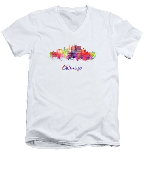 Chicago Skyline In Watercolor Men's V-Neck T-Shirt by Pablo Romero