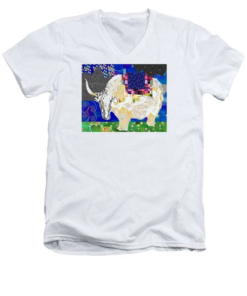 Stay Curious Cow Collage  Men's V-Neck T-Shirt by Claudia Schoen