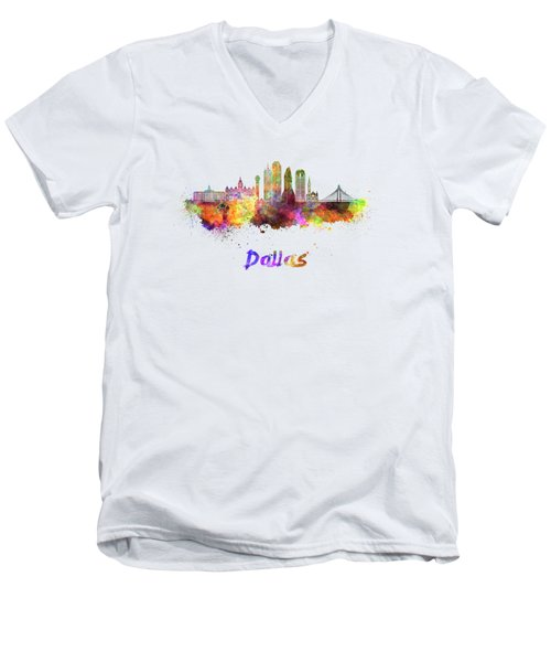Dallas Skyline In Watercolor Men's V-Neck T-Shirt by Pablo Romero