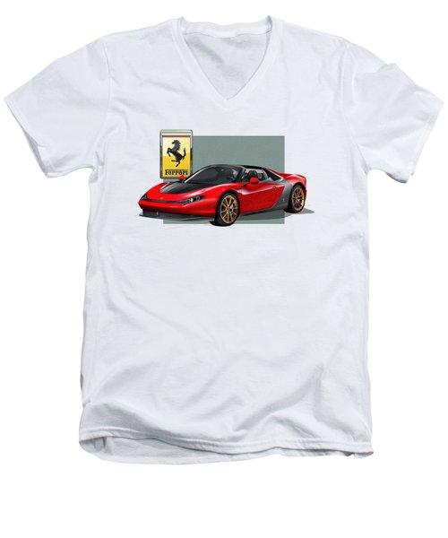 Ferrari Sergio With 3d Badge  Men's V-Neck T-Shirt by Serge Averbukh