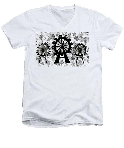 Ferris Wheel - London Eye Men's V-Neck T-Shirt by Michal Boubin