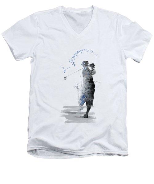 Golfer Men's V-Neck T-Shirt by Marlene Watson