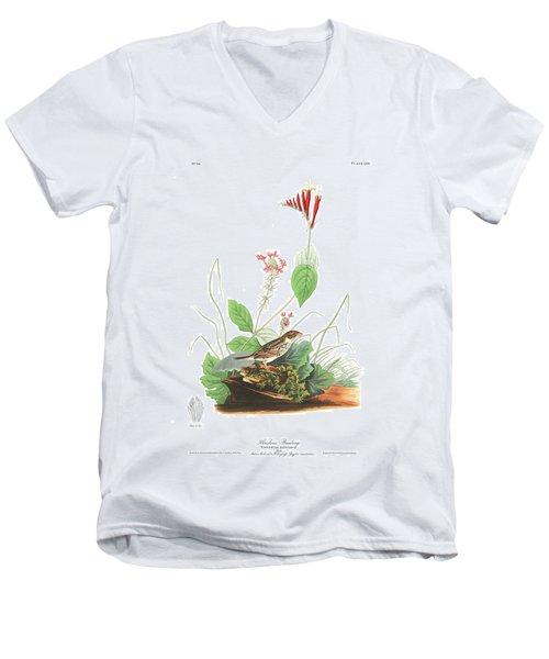 Henslow's Bunting  Men's V-Neck T-Shirt by John James Audubon