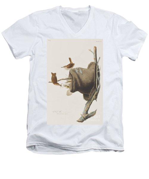 House Wren Men's V-Neck T-Shirt by John James Audubon