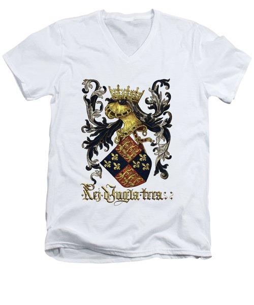 King Of England Coat Of Arms - Livro Do Armeiro-mor Men's V-Neck T-Shirt by Serge Averbukh