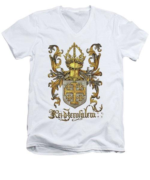 Kingdom Of Jerusalem Coat Of Arms - Livro Do Armeiro-mor Men's V-Neck T-Shirt by Serge Averbukh