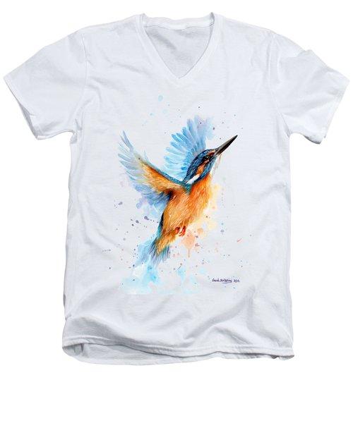 Kingfisher Men's V-Neck T-Shirt by Sarah Stribbling