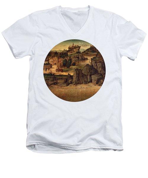 Landscape With Castles Men's V-Neck T-Shirt by Bartolomeo Montagna
