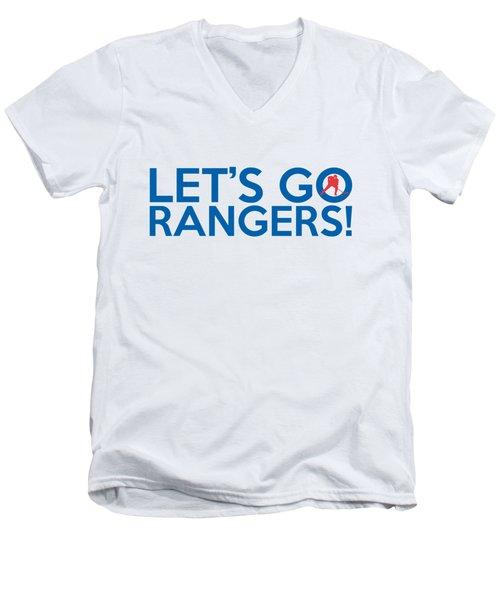 Let's Go Rangers Men's V-Neck T-Shirt by Florian Rodarte