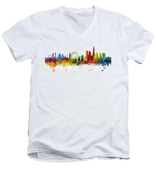 London England Skyline Panoramic Men's V-Neck T-Shirt by Michael Tompsett
