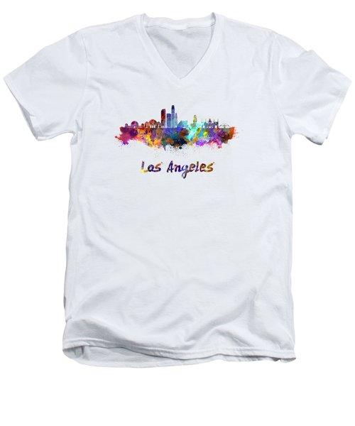 Los Angeles Skyline In Watercolor Men's V-Neck T-Shirt by Pablo Romero
