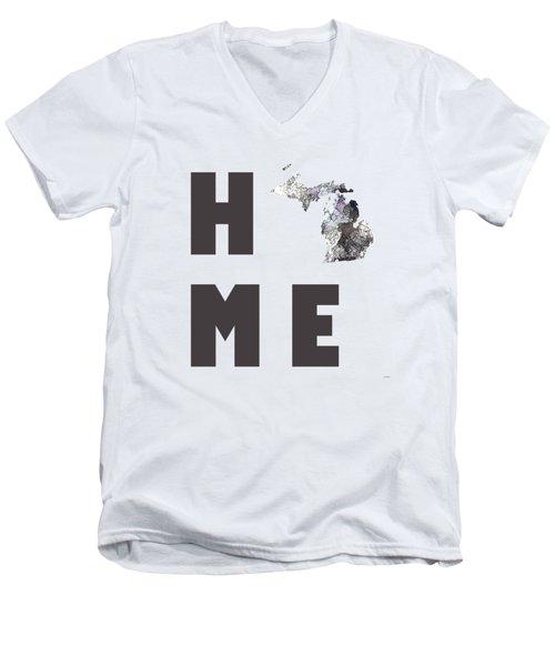 Michigan State Map Men's V-Neck T-Shirt by Marlene Watson