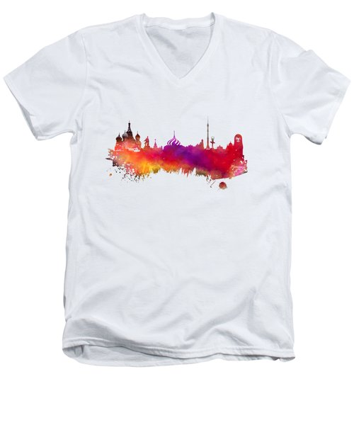Moscow Skyline Men's V-Neck T-Shirt by Justyna JBJart