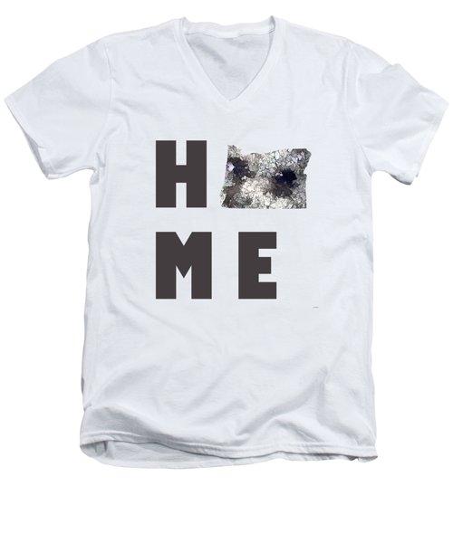 Oregon State Map Men's V-Neck T-Shirt by Marlene Watson
