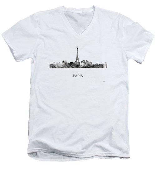 Paris France Skyline Men's V-Neck T-Shirt by Marlene Watson