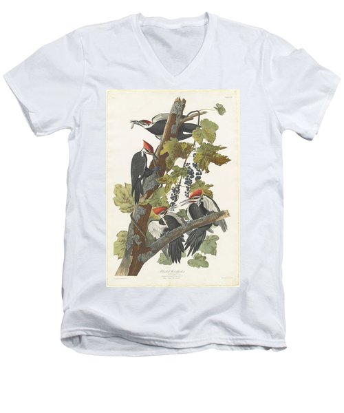 Pileated Woodpecker Men's V-Neck T-Shirt by John James Audubon