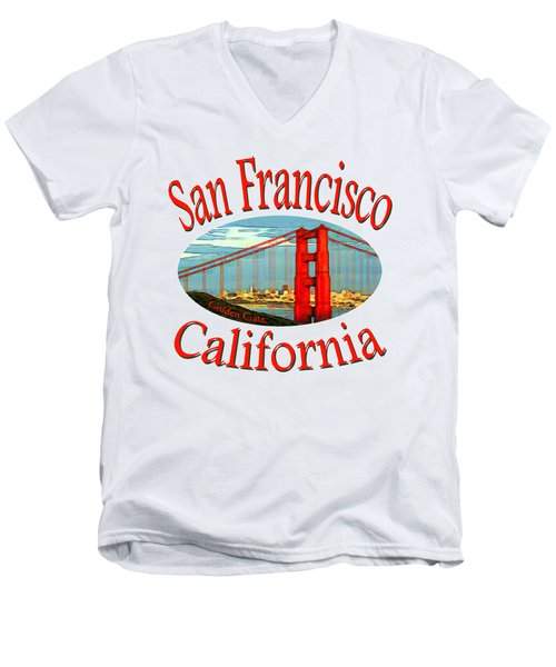 San Francisco California - Tshirt Design Men's V-Neck T-Shirt by Art America Online Gallery