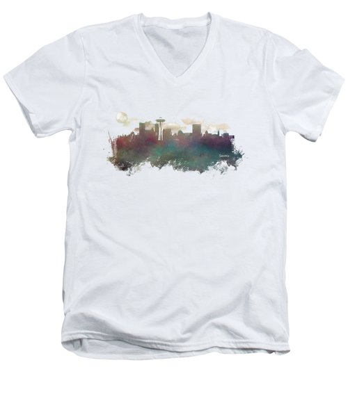 Seattle Washington Skyline Men's V-Neck T-Shirt by Justyna JBJart