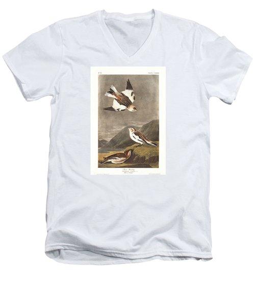 Snow Bunting Men's V-Neck T-Shirt by John James Audubon