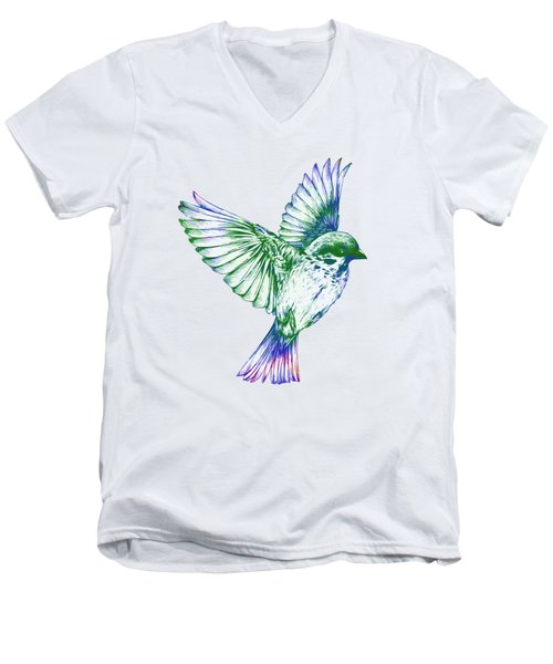 Textured Bird With Changeable Background Color Men's V-Neck T-Shirt by Sebastien Coell
