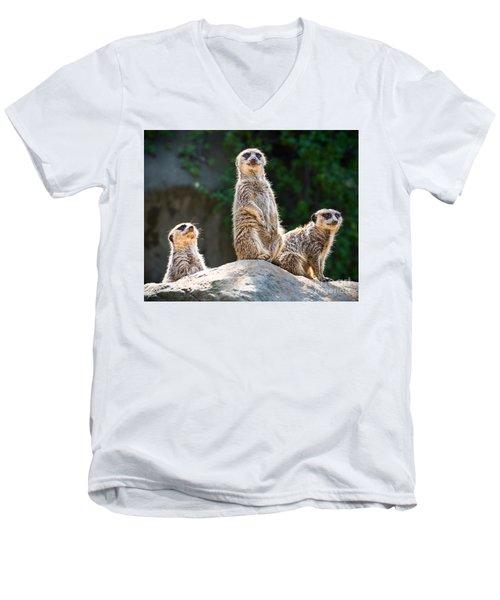 Three's Company Men's V-Neck T-Shirt by Jamie Pham