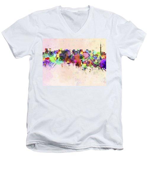 Tokyo Skyline In Watercolor Background Men's V-Neck T-Shirt by Pablo Romero
