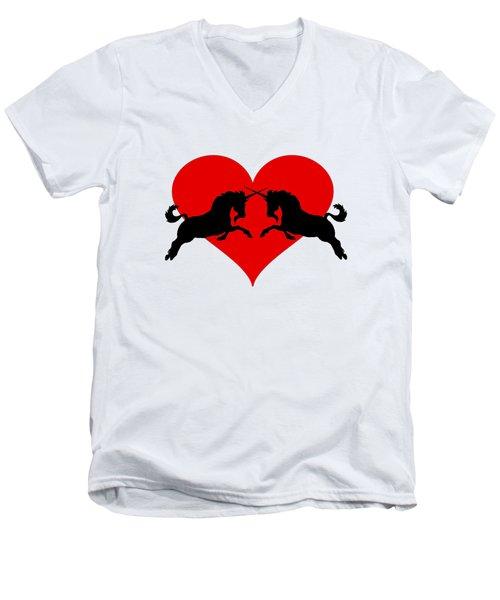 Unicorns Men's V-Neck T-Shirt by Mordax Furittus