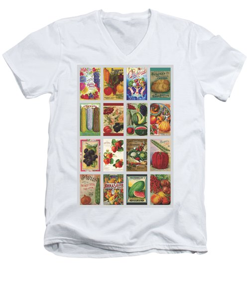 Vintage Farm Seed Packs Men's V-Neck T-Shirt by Debbie Karnes