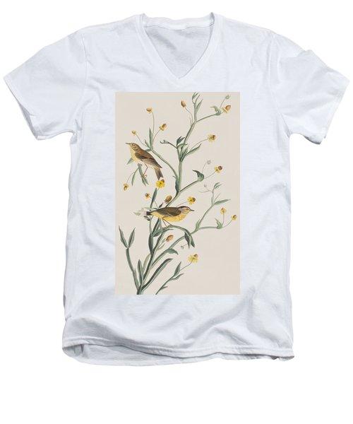 Yellow Red-poll Warbler Men's V-Neck T-Shirt by John James Audubon
