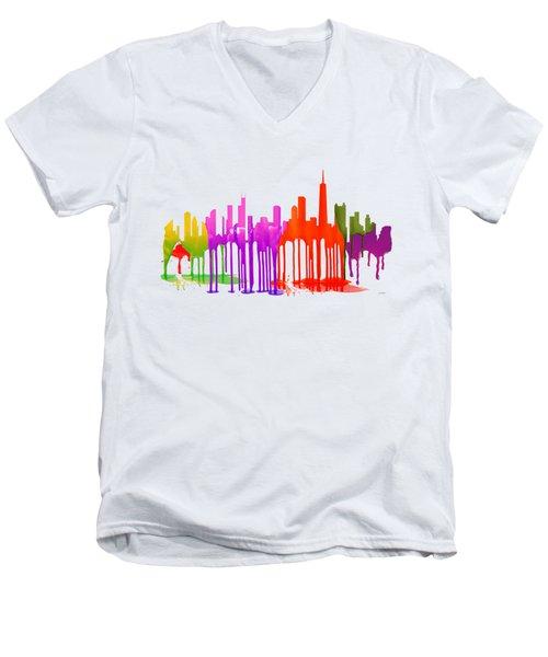 Chicago Illinois Skyline Men's V-Neck T-Shirt by Marlene Watson