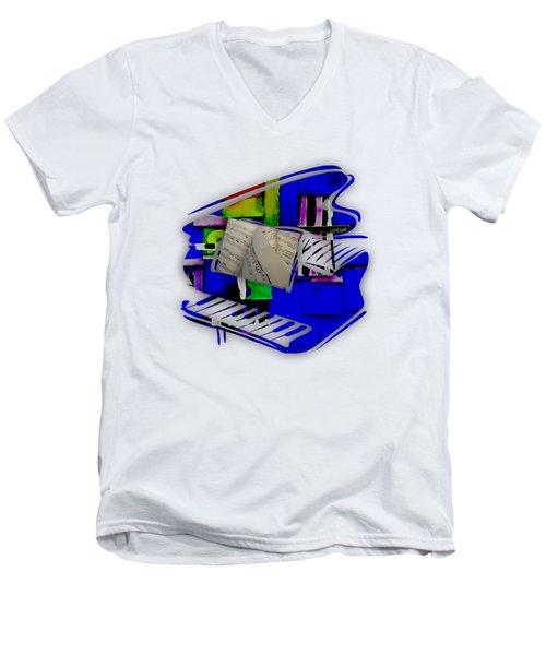 Piano Collection Men's V-Neck T-Shirt by Marvin Blaine
