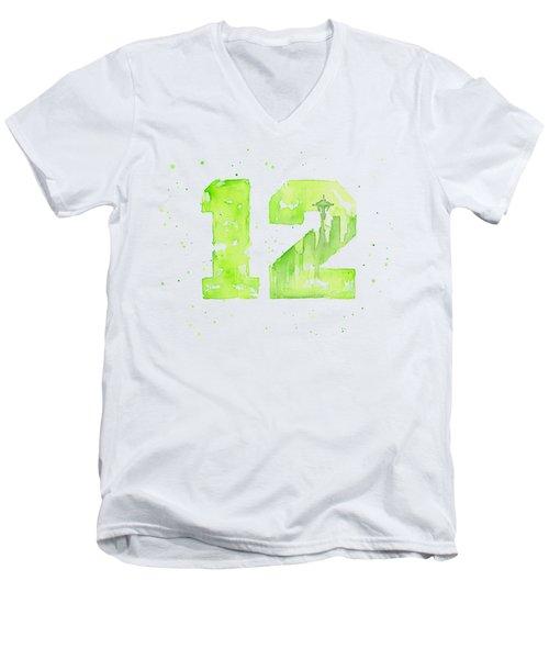 12th Man Seahawks Art Go Hawks Men's V-Neck T-Shirt by Olga Shvartsur