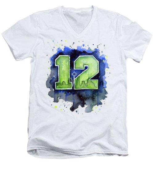 12th Man Seahawks Art Seattle Go Hawks Men's V-Neck T-Shirt by Olga Shvartsur