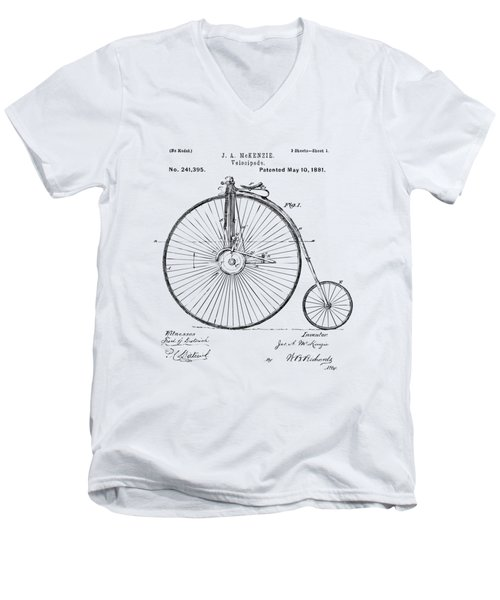 1881 Velocipede Bicycle Patent Artwork - Vintage Men's V-Neck T-Shirt by Nikki Marie Smith