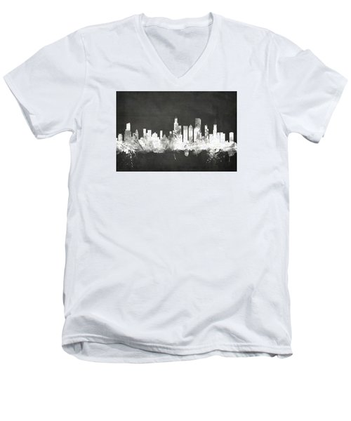 Chicago Illinois Skyline Men's V-Neck T-Shirt by Michael Tompsett
