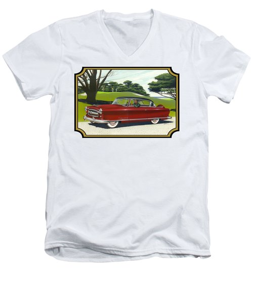 1953 Nash Rambler Car Americana Rustic Rural Country Auto Antique Painting Red Golf Men's V-Neck T-Shirt by Walt Curlee
