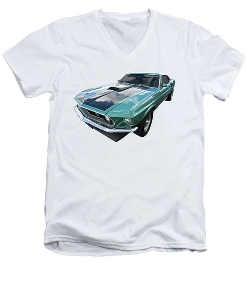 1969 Green 428 Mach 1 Cobra Jet Ford Mustang Men's V-Neck T-Shirt by Gill Billington