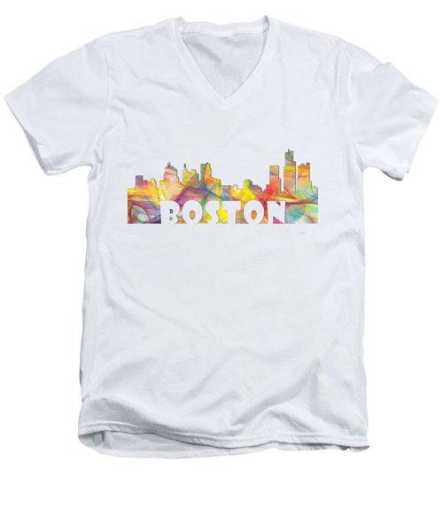 Boston Massachusetts Skyline Men's V-Neck T-Shirt by Marlene Watson