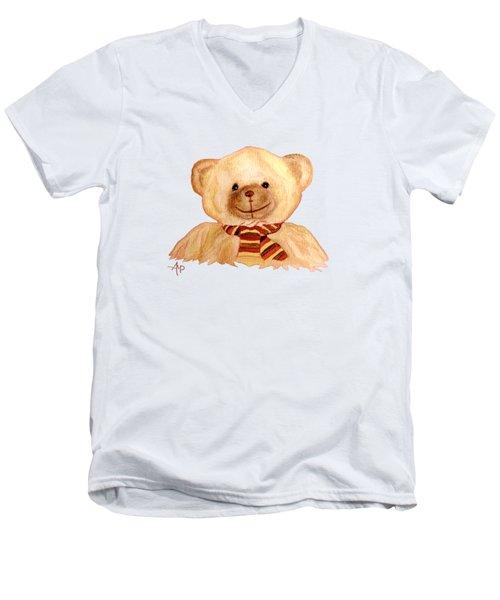 Cuddly Bear Men's V-Neck T-Shirt by Angeles M Pomata